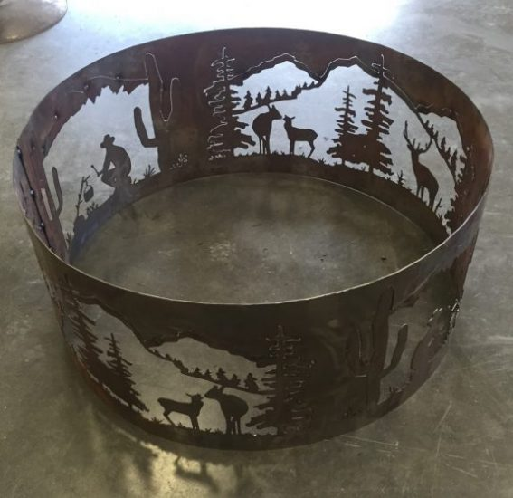 Deer/Mtn./Cowboy themed fire pit ring