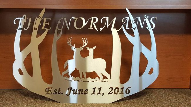 "Deer Antler themed sign ""The Normans"""